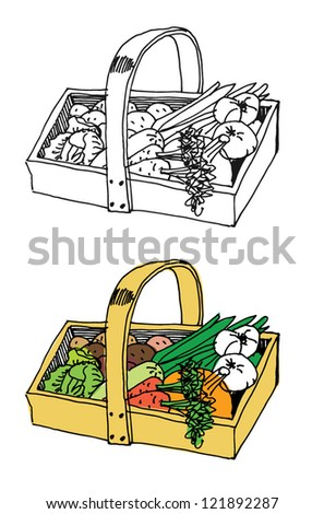 Traditional vegetable cart. All for soup. - stock vector
