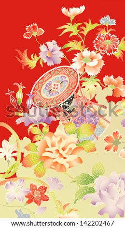 Traditional vintage kimono motifs showing flowers and an ornamental drum - stock vector