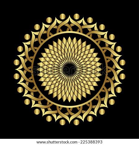Traditional vintage ottoman turkey turkish tulip round frame gold design - stock vector