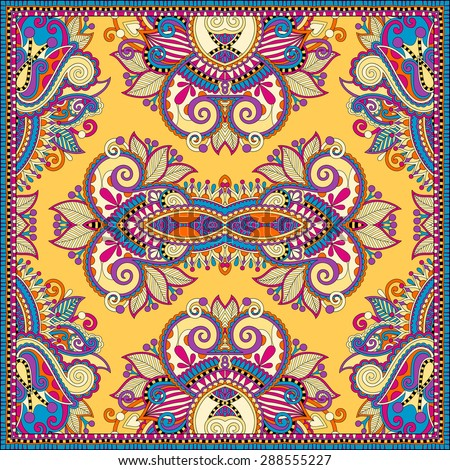 Traditional yellow ornamental floral paisley bandanna. Square ornament. You can use this pattern in the design of carpet, shawl, pillow, cushion, vector illustration - stock vector