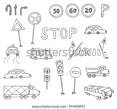 traffic and transportation vector set - stock vector