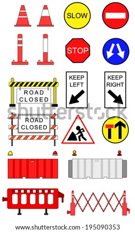 Traffic blockage objects vector set - stock vector