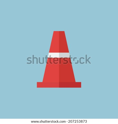 traffic cone icon, vector - stock vector