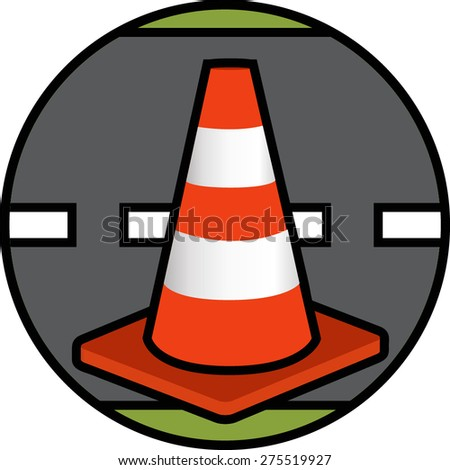 Traffic Cone Icon: Vector - stock vector