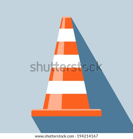 Traffic Cones Icon. Vector illustration of traffic cone. Traffic warning sign icon in color. Elements for design. Traffic Cones Icon isolated on light blue background. - stock vector