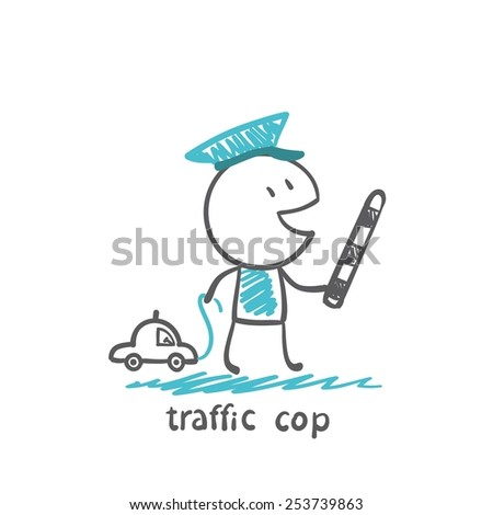 traffic cop a toy car, illustrator - stock vector