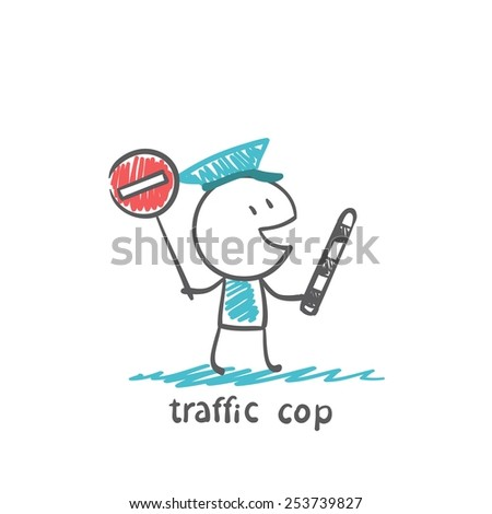 traffic cop holding a stop sign, illustrator - stock vector