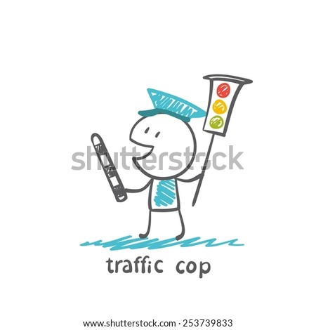 traffic cop keeps the traffic light, illustrator - stock vector