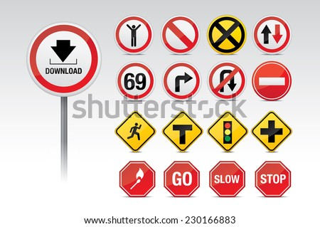 Traffic icon signs - stock vector
