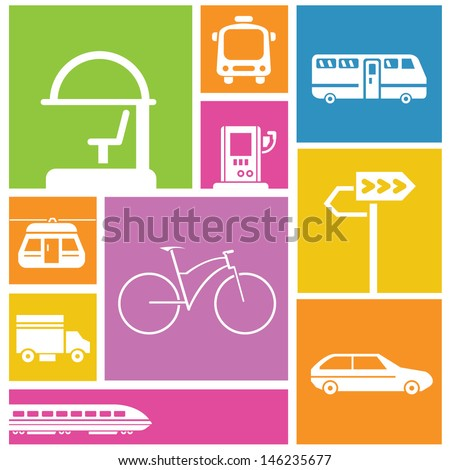 traffic icons, transportation icons, color background - stock vector