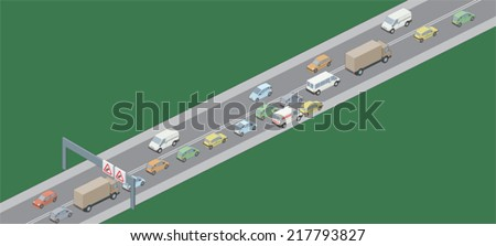 Traffic jam left hand drive vehicles - stock vector