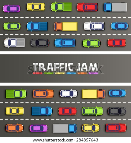 Traffic jam on the road with cars on gray background - stock vector