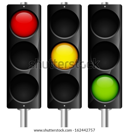 Traffic lamps signals with reflection - vector - stock vector