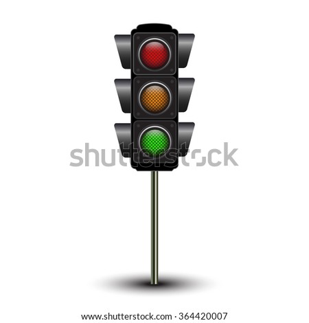 Traffic lamps, traffic lights isolated on white background - stock vector
