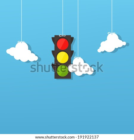 traffic light and clouds - stock vector