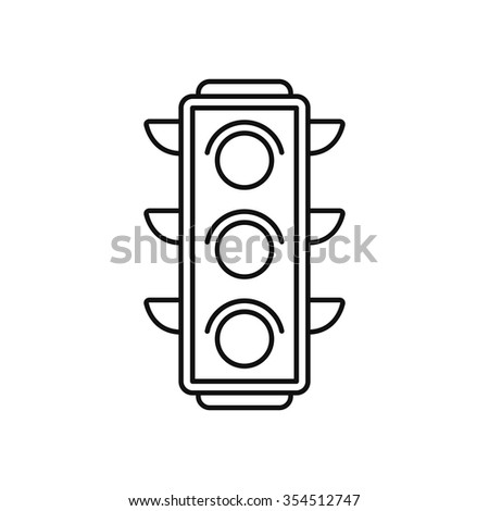 Traffic light icon in thin line style. Isolated vector illustration. - stock vector