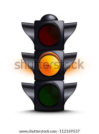 Traffic light on yellow - stock vector