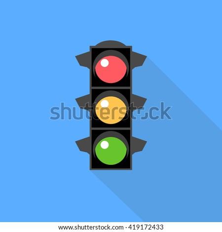 Traffic light sign icon. Flat vector - stock vector
