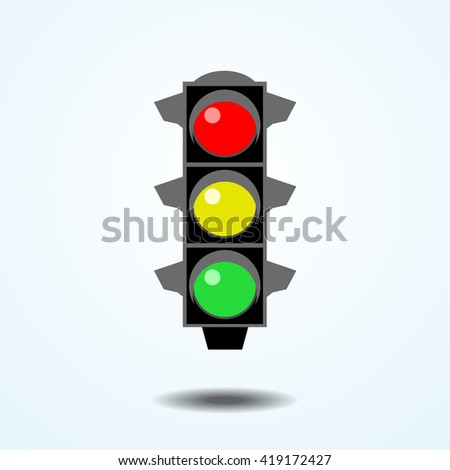 Traffic light sign icon. Realistic vector - stock vector