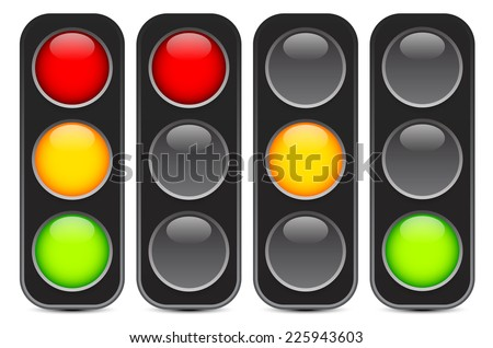 Traffic light, traffic light sequence vector. (Red, yellow, green lights - Go, wait, stop..) - stock vector