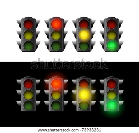 Traffic light. Variants. Vector illustration. Isolated on white background - stock vector