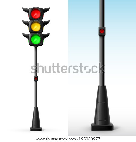 Traffic light with all colors on with button for pedestrians - stock vector