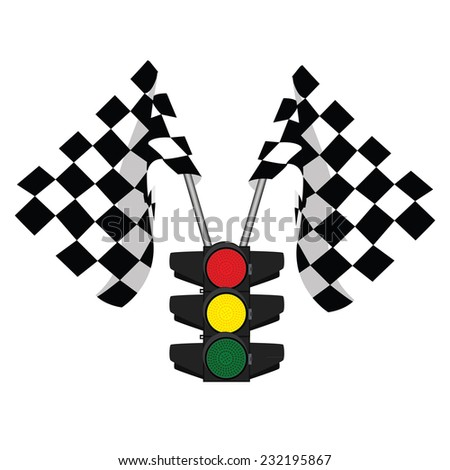 Traffic lights, finish flag, start flag, racing flag - stock vector