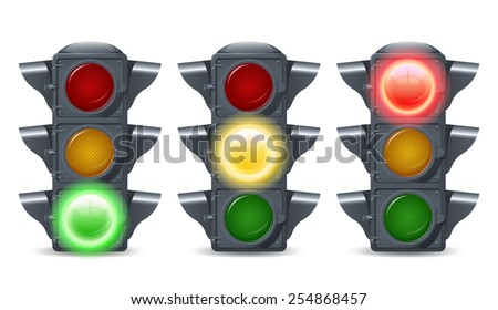 Traffic lights illuminated realistic decorative icons set isolated vector illustration - stock vector