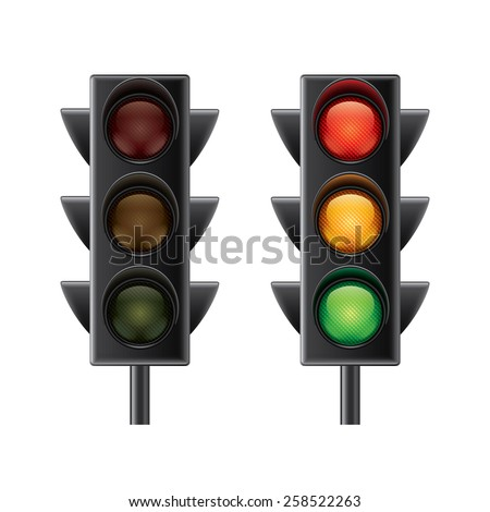 Traffic lights isolated on white photo-realistic vector illustration - stock vector