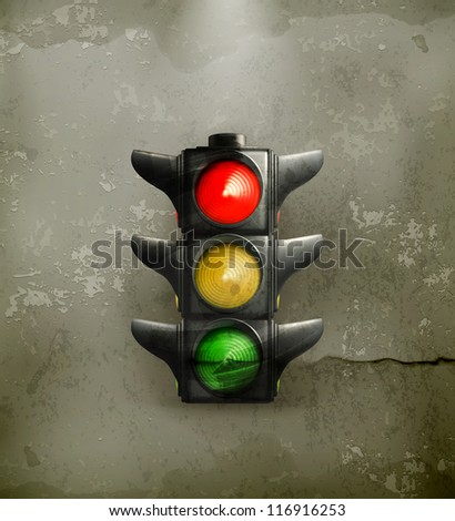 Traffic Lights, old-style vector - stock vector