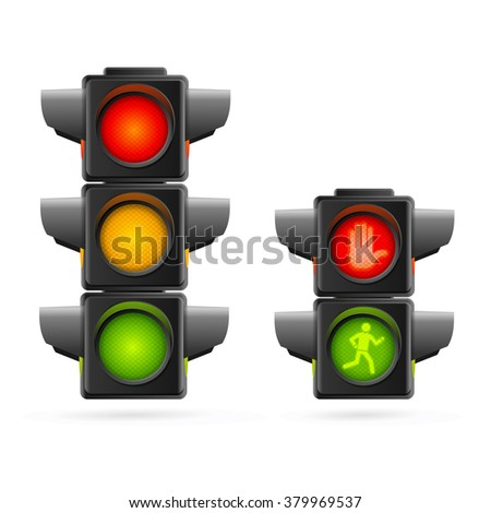 Traffic Lights Set Realistic. Three Colors and Two. Vector illustration - stock vector