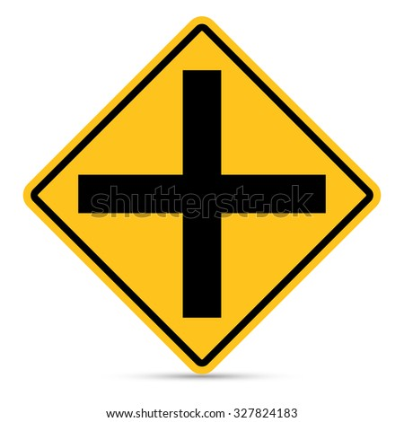 Traffic sign, Intersection ahead sign on white background ... Y Intersection Sign
