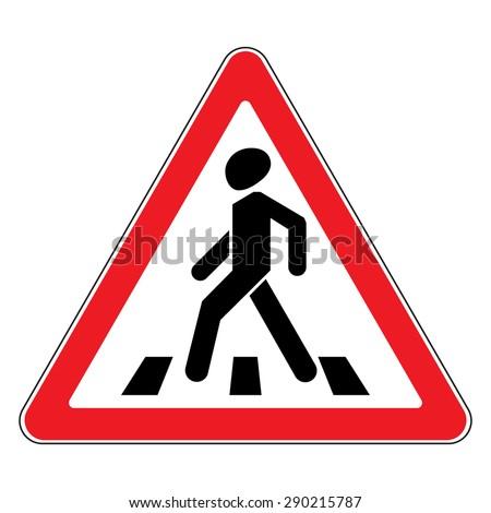 Traffic sign pedestrian crossing. Traffic sign zebra crossing. Illustration of triangular warning sign for pedestrian crossing. Stock vector - stock vector