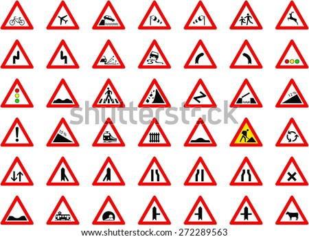 traffic signs big collection - vector - stock vector