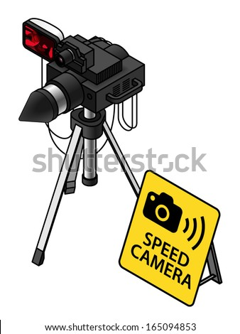traffic speed trap camera/radar unit on a tripod. With a yellow warning sign. - stock vector