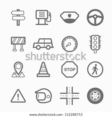 traffic symbol line icon on white background vector illustration - stock vector