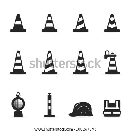 Traffic warning sign icon set in single color.Transparent shadows placed on layer beneath. - stock vector