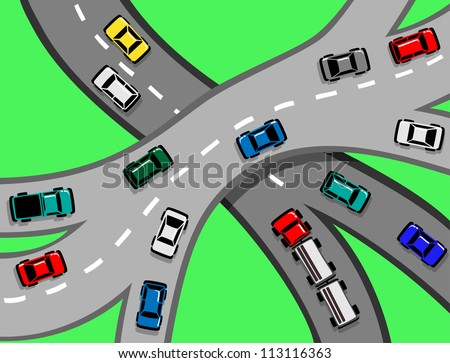 Traffic with Cars and Trucks on a motorway or highway junction  EPS8 - stock vector