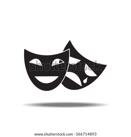 Tragedy And Comedy Masks Single Icon - stock vector