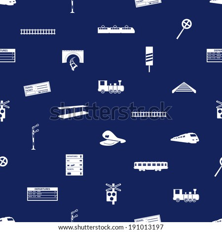 train and railway seamless blue pattern eps10 - stock vector