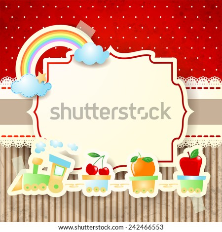 Train and rainbow over paper background, vector eps10 - stock vector