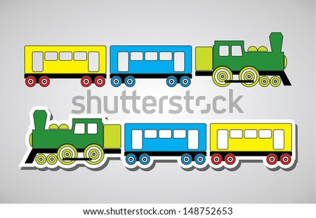 Train and wagon in colors, vector illustration - stock vector