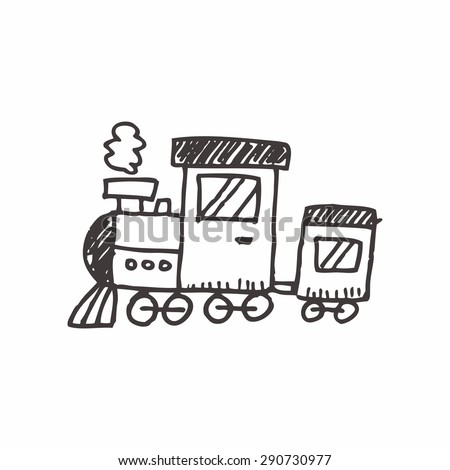 train doodle drawing - stock vector