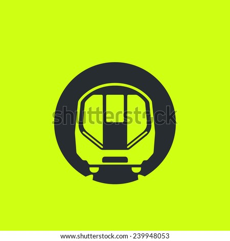 Train icon: modern metro, London tube, underground, subway car flat silhouette. Front view, future concept style. For maps, schemes, applications and infographics.  - stock vector