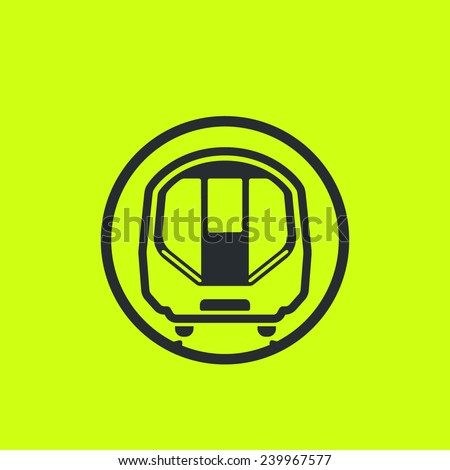 Train icon: modern metro, underground, subway, London tube car flat silhouette. Front view, future concept style. For maps, schemes, applications and infographics. - stock vector