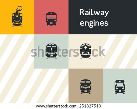 Train icon set: flat vector silhouettes of passenger and freight rail transit vehicles and engines of classic, modern ages and in between. For maps, infographics, and city-oriented apps. - stock vector