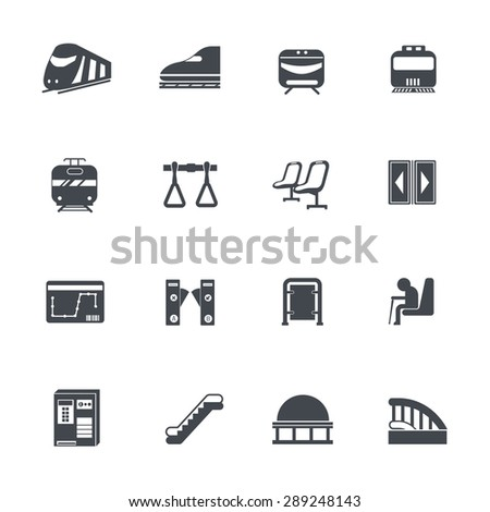 Train icons - stock vector