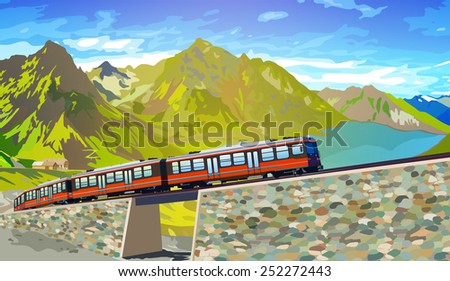 Train in high Alps mountains. Summer season. EPS 10 format. - stock vector