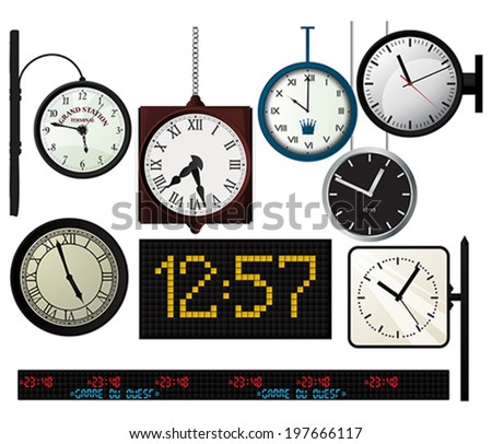 Train, metro station,  vector watches collection over white background - stock vector