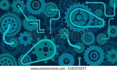 Train of gears, trundles and cogwheels, complex clock or machine mechanism, cog in the machine, vector background - stock vector